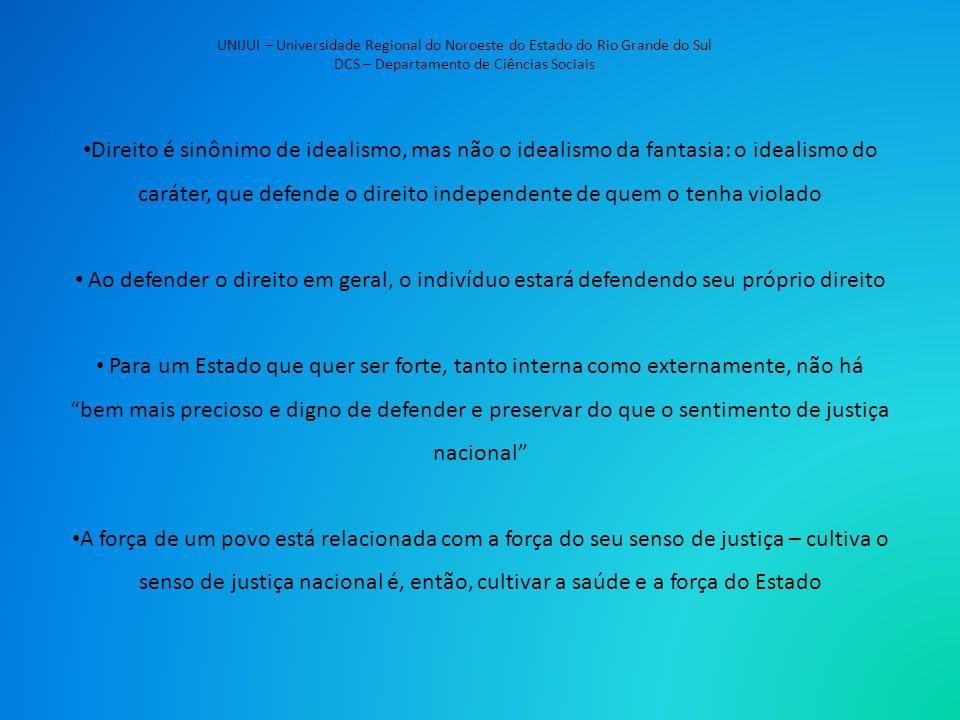UNIJUI – Universidade Regional do Noroeste do Estado do Rio Grande do Sul DCS – Departamento de Ciências Sociais Direito é sinônimo de idealismo, mas