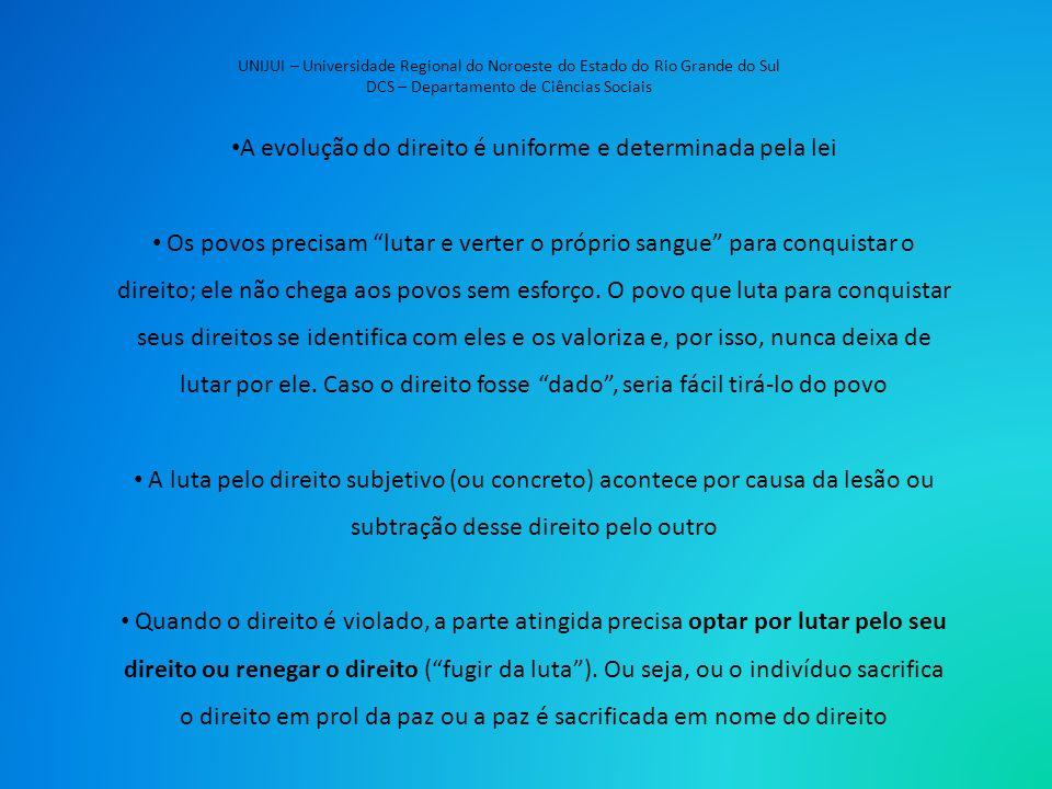 UNIJUI – Universidade Regional do Noroeste do Estado do Rio Grande do Sul DCS – Departamento de Ciências Sociais A evolução do direito é uniforme e de