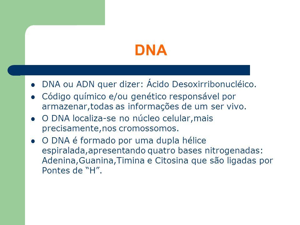 DNA DNA ou ADN quer dizer: Ácido Desoxirribonucléico. Código químico e/ou genético responsável por armazenar,todas as informações de um ser vivo. O DN