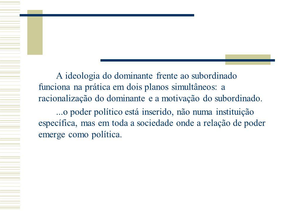 A ideologia do dominante frente ao subordinado funciona na prática em dois planos simultâneos: a racionalização do dominante e a motivação do subordin