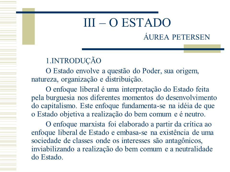 III – O ESTADO ÁUREA PETERSEN 1.INTRODUÇÃO O Estado envolve a questão do Poder, sua origem, natureza, organização e distribuição. O enfoque liberal é