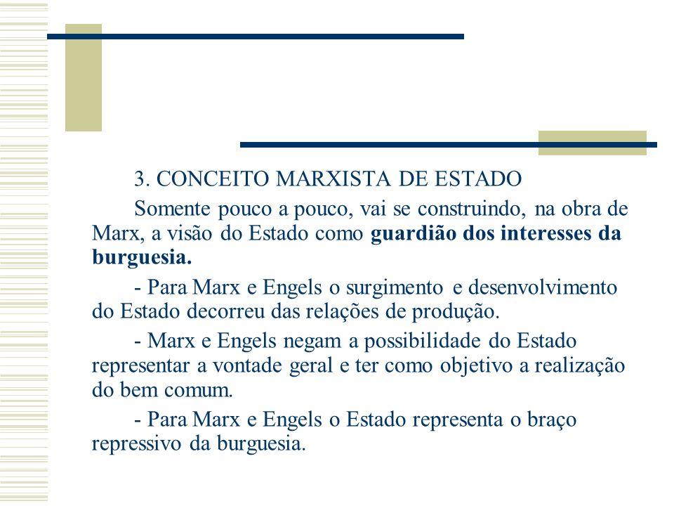 3. CONCEITO MARXISTA DE ESTADO Somente pouco a pouco, vai se construindo, na obra de Marx, a visão do Estado como guardião dos interesses da burguesia