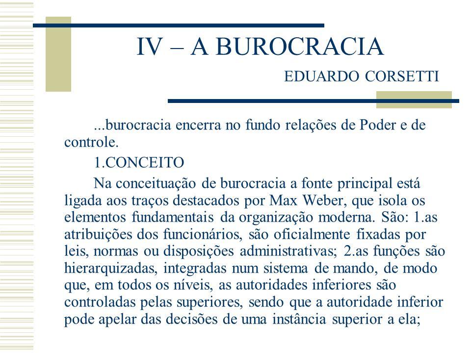 IV – A BUROCRACIA EDUARDO CORSETTI...burocracia encerra no fundo relações de Poder e de controle. 1.CONCEITO Na conceituação de burocracia a fonte pri