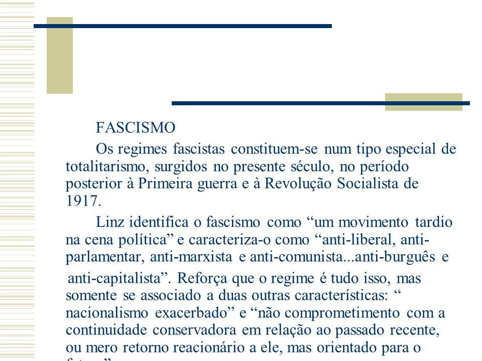 FASCISMO Os regimes fascistas constituem-se num tipo especial de totalitarismo, surgidos no presente século, no período posterior à Primeira guerra e