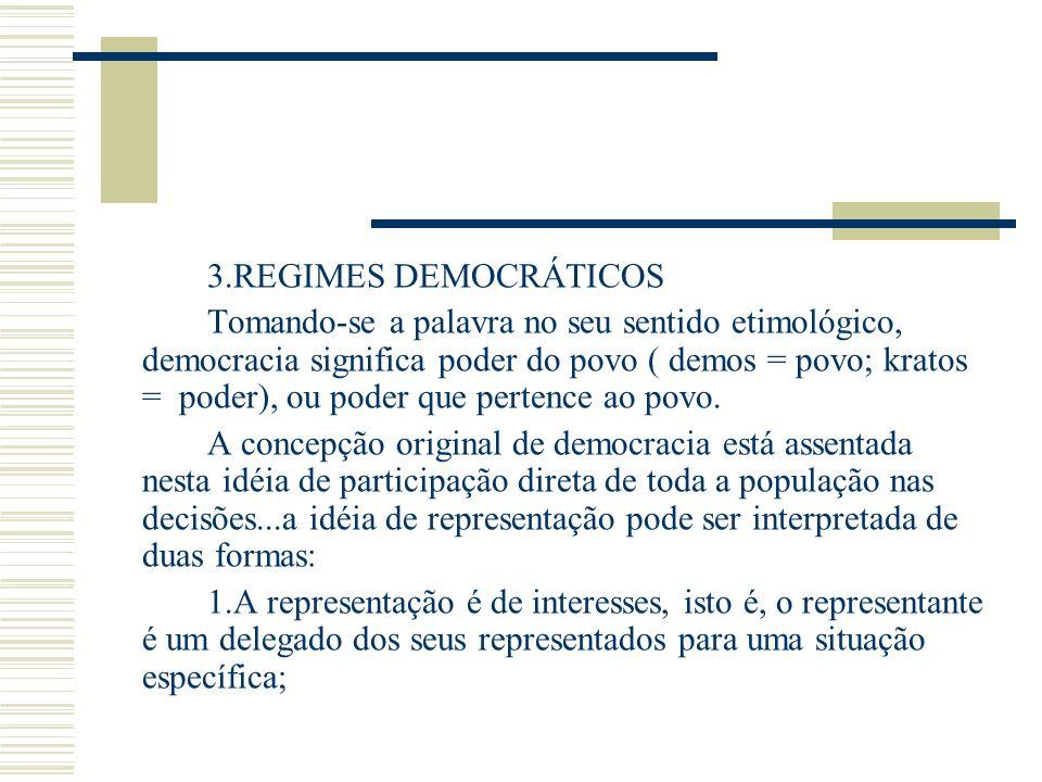 3.REGIMES DEMOCRÁTICOS Tomando-se a palavra no seu sentido etimológico, democracia significa poder do povo ( demos = povo; kratos = poder), ou poder q