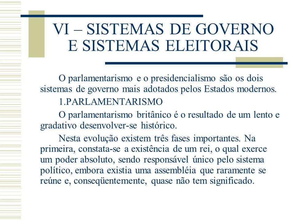 VI – SISTEMAS DE GOVERNO E SISTEMAS ELEITORAIS O parlamentarismo e o presidencialismo são os dois sistemas de governo mais adotados pelos Estados mode