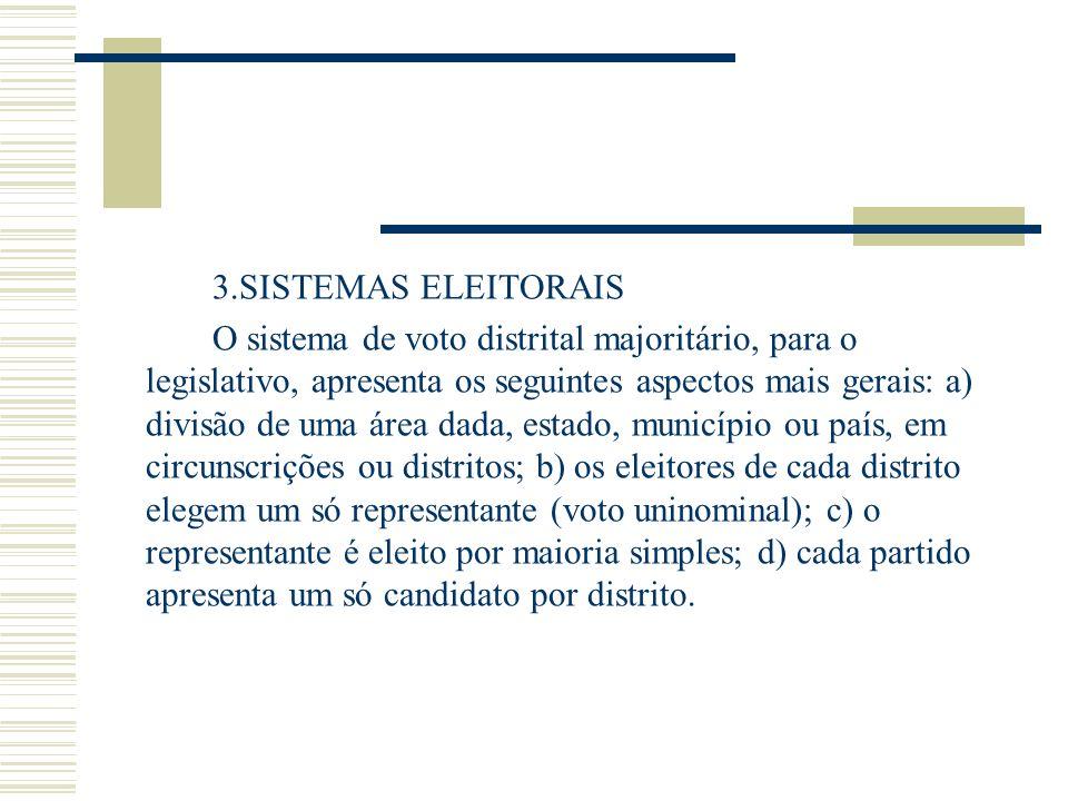 3.SISTEMAS ELEITORAIS O sistema de voto distrital majoritário, para o legislativo, apresenta os seguintes aspectos mais gerais: a) divisão de uma área