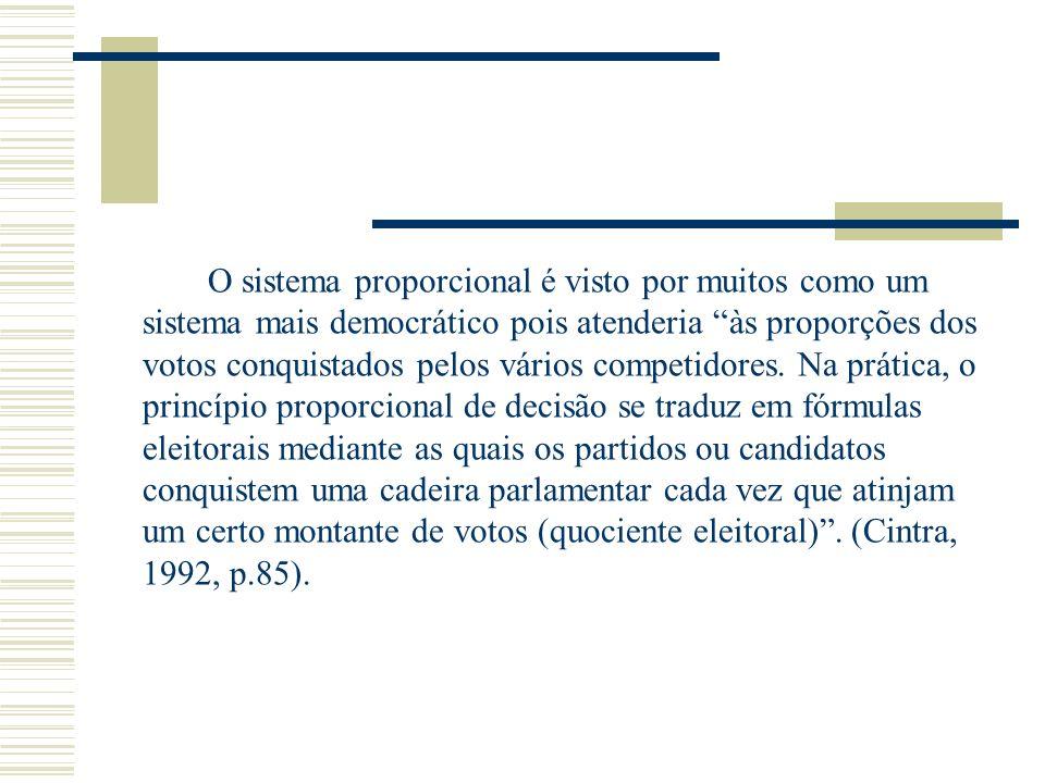 O sistema proporcional é visto por muitos como um sistema mais democrático pois atenderia às proporções dos votos conquistados pelos vários competidor