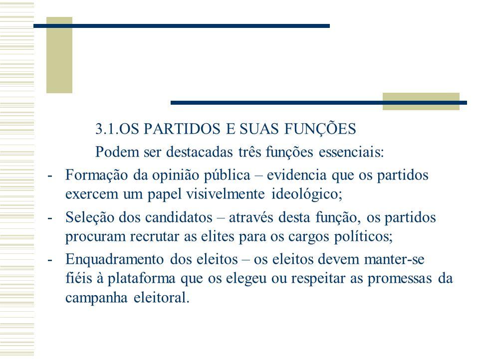 3.1.OS PARTIDOS E SUAS FUNÇÕES Podem ser destacadas três funções essenciais: -Formação da opinião pública – evidencia que os partidos exercem um papel