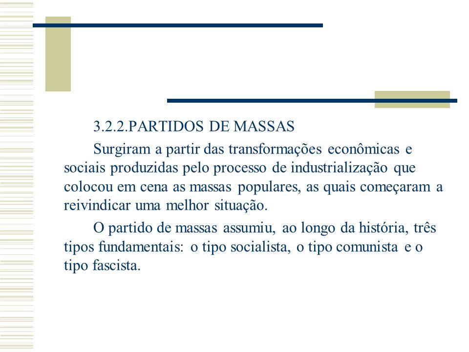 3.2.2.PARTIDOS DE MASSAS Surgiram a partir das transformações econômicas e sociais produzidas pelo processo de industrialização que colocou em cena as