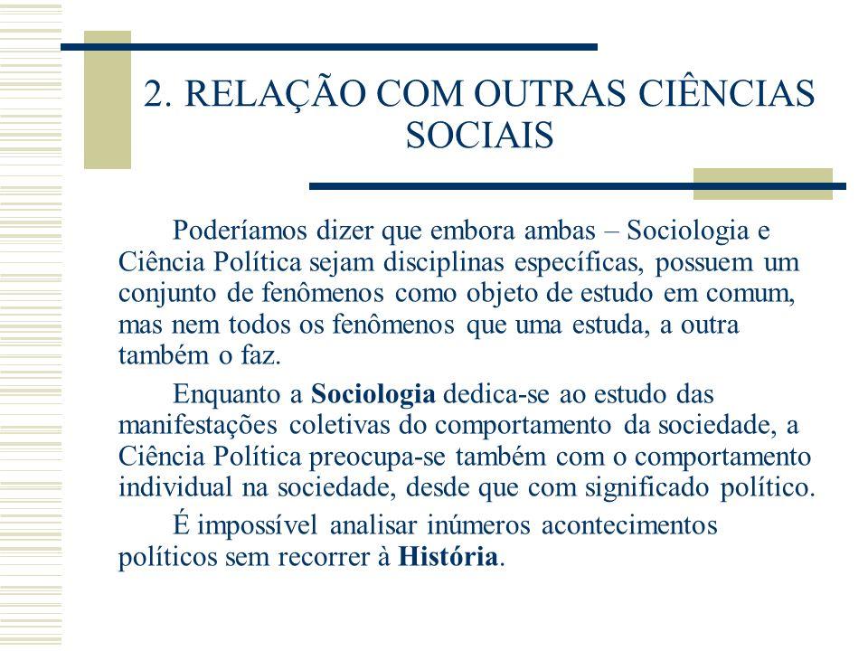2. RELAÇÃO COM OUTRAS CIÊNCIAS SOCIAIS Poderíamos dizer que embora ambas – Sociologia e Ciência Política sejam disciplinas específicas, possuem um con