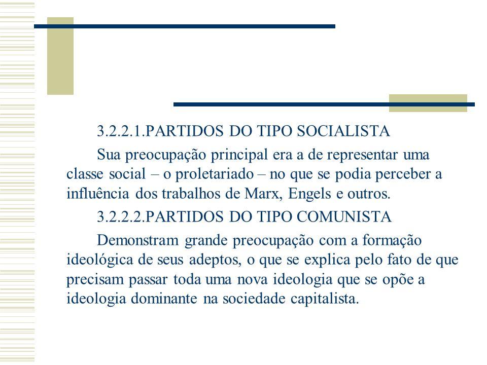 3.2.2.1.PARTIDOS DO TIPO SOCIALISTA Sua preocupação principal era a de representar uma classe social – o proletariado – no que se podia perceber a inf