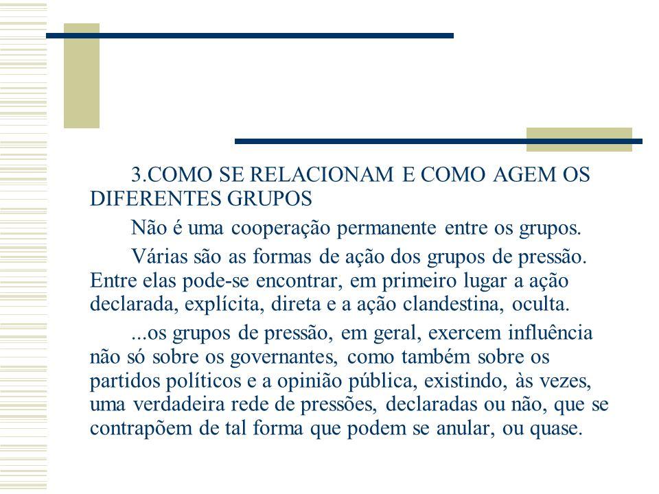 3.COMO SE RELACIONAM E COMO AGEM OS DIFERENTES GRUPOS Não é uma cooperação permanente entre os grupos. Várias são as formas de ação dos grupos de pres