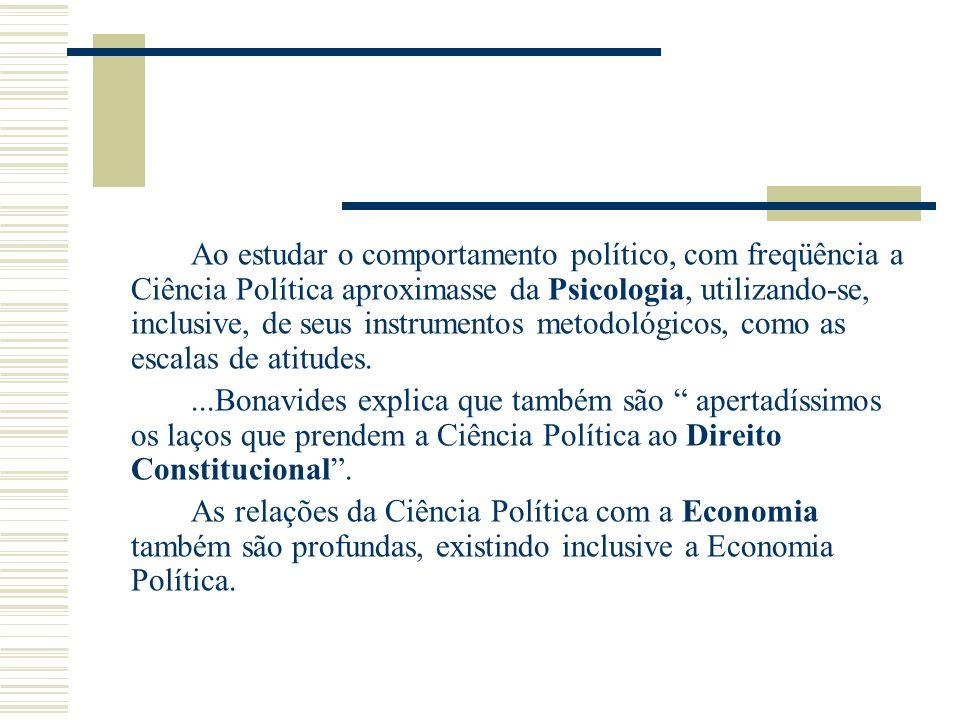 Ao estudar o comportamento político, com freqüência a Ciência Política aproximasse da Psicologia, utilizando-se, inclusive, de seus instrumentos metod