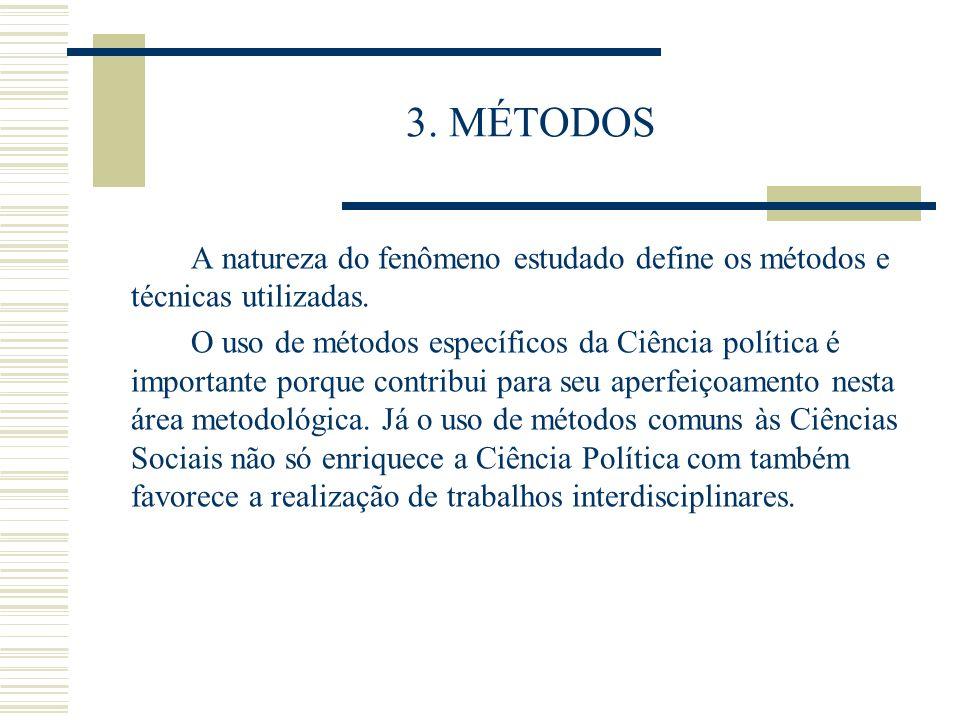 3. MÉTODOS A natureza do fenômeno estudado define os métodos e técnicas utilizadas. O uso de métodos específicos da Ciência política é importante porq