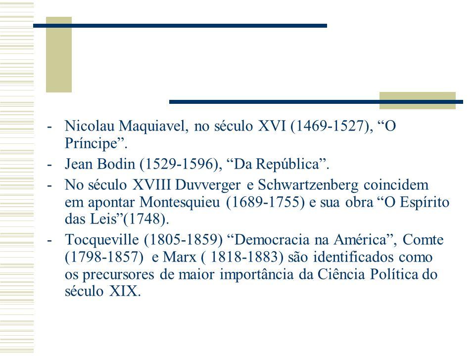 -Nicolau Maquiavel, no século XVI (1469-1527), O Príncipe. -Jean Bodin (1529-1596), Da República. -No século XVIII Duvverger e Schwartzenberg coincide