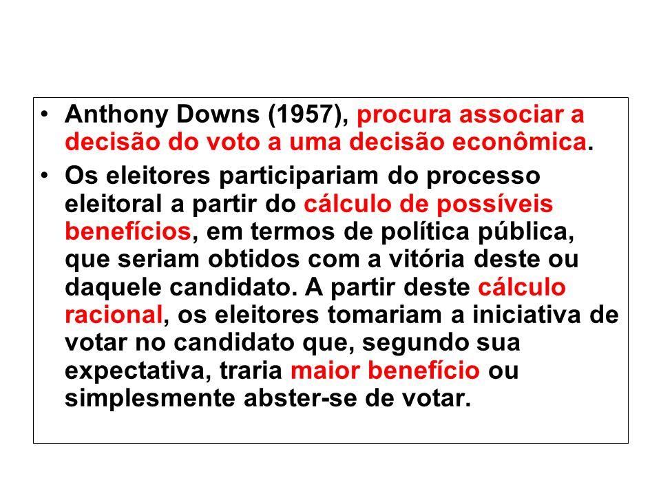 Anthony Downs (1957), procura associar a decisão do voto a uma decisão econômica. Os eleitores participariam do processo eleitoral a partir do cálculo
