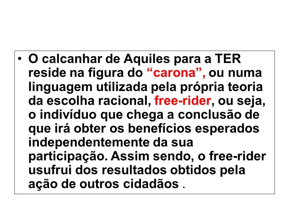 O calcanhar de Aquiles para a TER reside na figura do carona, ou numa linguagem utilizada pela própria teoria da escolha racional, free-rider, ou seja