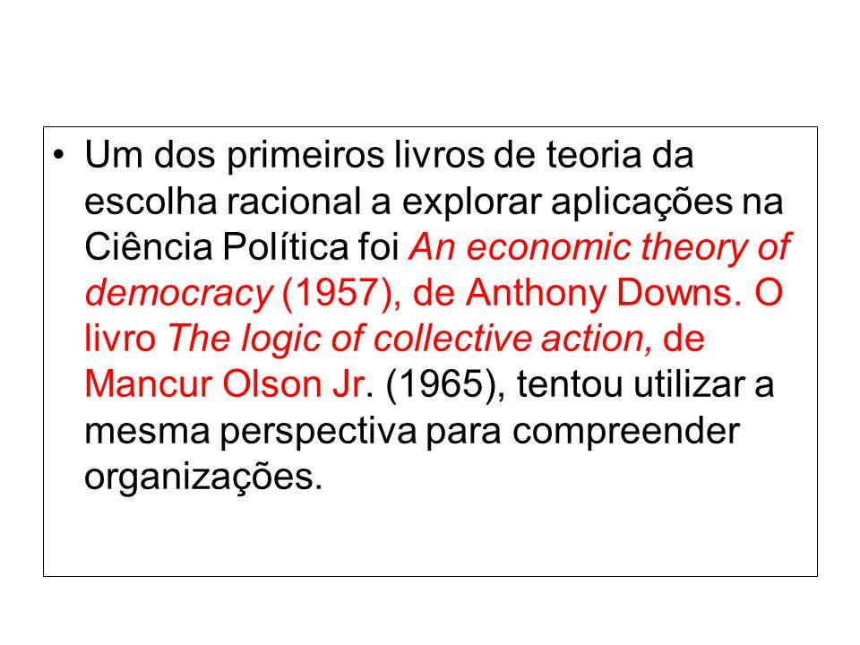 Um dos primeiros livros de teoria da escolha racional a explorar aplicações na Ciência Política foi An economic theory of democracy (1957), de Anthony