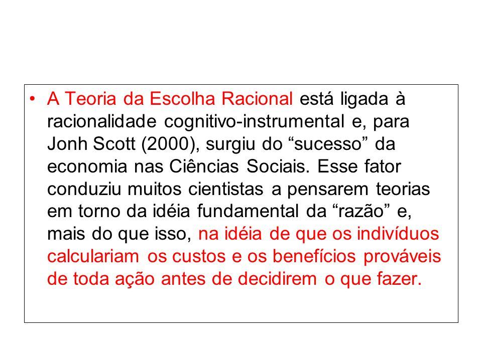 A Teoria da Escolha Racional está ligada à racionalidade cognitivo-instrumental e, para Jonh Scott (2000), surgiu do sucesso da economia nas Ciências