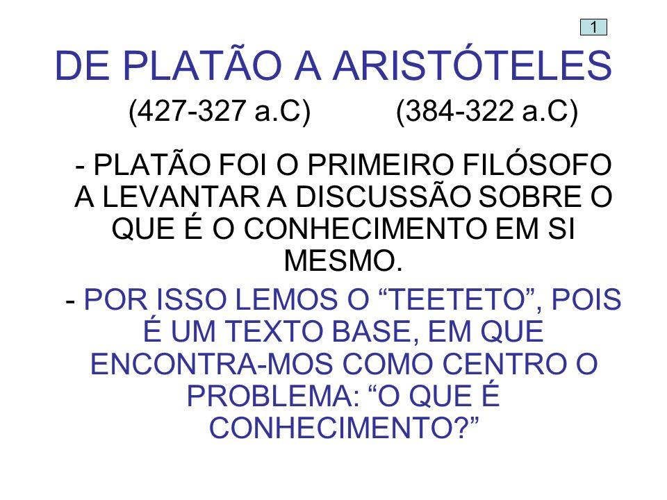 DE PLATÃO A ARISTÓTELES (427-327 a.C)(384-322 a.C) - PLATÃO FOI O PRIMEIRO FILÓSOFO A LEVANTAR A DISCUSSÃO SOBRE O QUE É O CONHECIMENTO EM SI MESMO. -