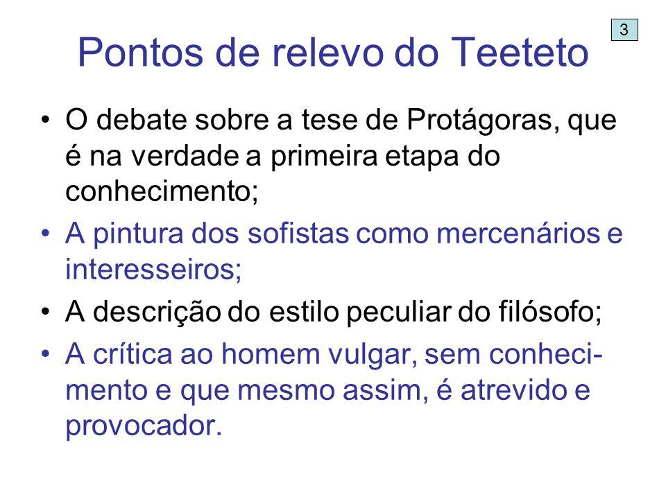 Pontos de relevo do Teeteto O debate sobre a tese de Protágoras, que é na verdade a primeira etapa do conhecimento; A pintura dos sofistas como mercen