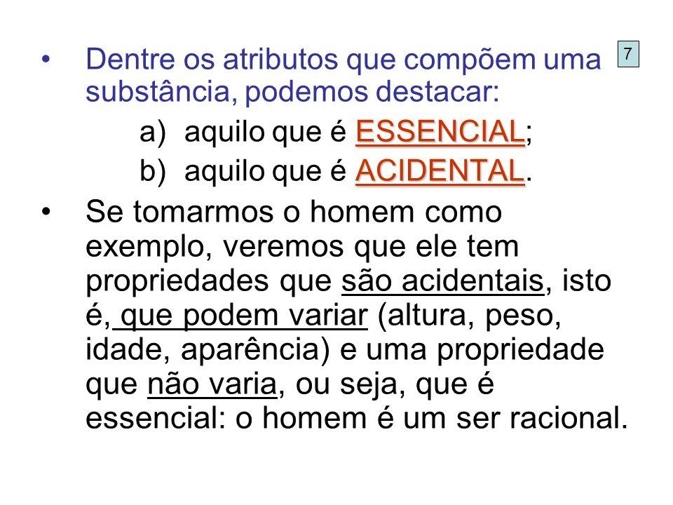Dentre os atributos que compõem uma substância, podemos destacar: ESSENCIAL a)aquilo que é ESSENCIAL; ACIDENTAL b)aquilo que é ACIDENTAL. Se tomarmos