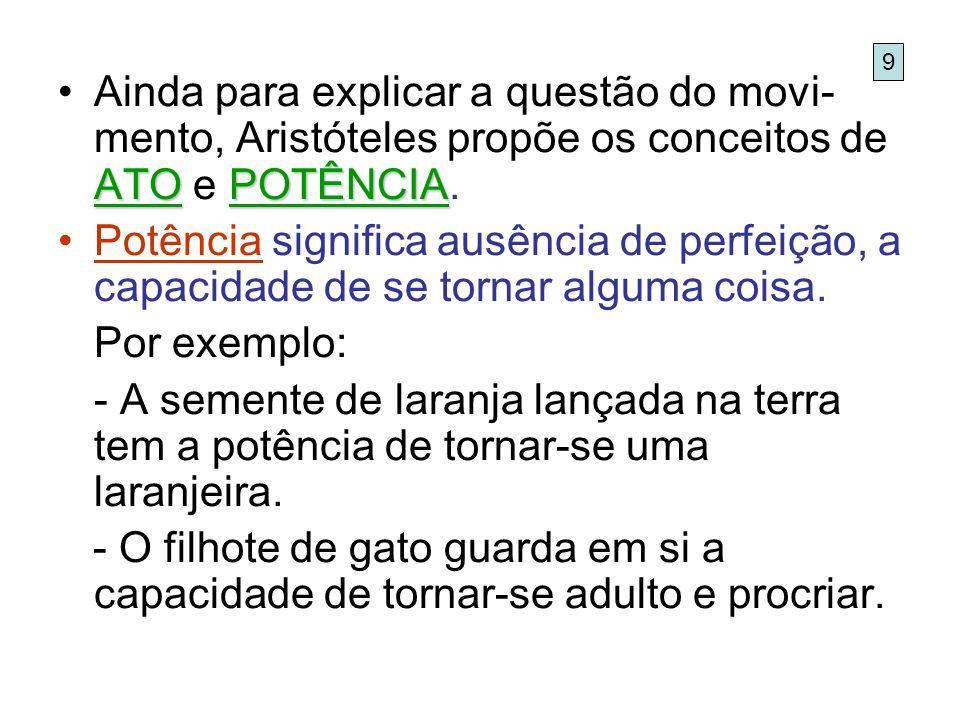 ATOPOTÊNCIAAinda para explicar a questão do movi- mento, Aristóteles propõe os conceitos de ATO e POTÊNCIA. Potência significa ausência de perfeição,