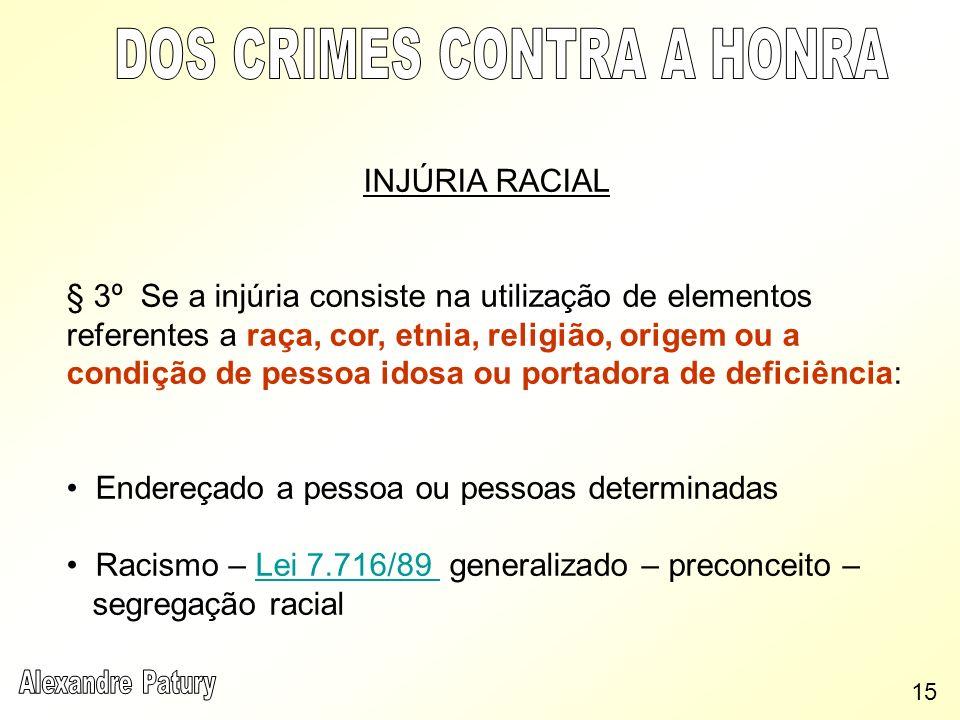 INJÚRIA RACIAL § 3º Se a injúria consiste na utilização de elementos referentes a raça, cor, etnia, religião, origem ou a condição de pessoa idosa ou