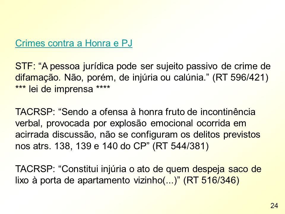 Crimes contra a Honra e PJ STF: A pessoa jurídica pode ser sujeito passivo de crime de difamação. Não, porém, de injúria ou calúnia. (RT 596/421) ***