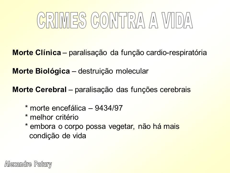 Morte Clínica – paralisação da função cardio-respiratória Morte Biológica – destruição molecular Morte Cerebral – paralisação das funções cerebrais *