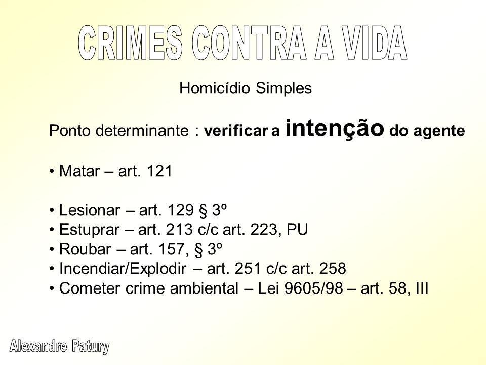 Ponto determinante : verificar a intenção do agente Matar – art. 121 Lesionar – art. 129 § 3º Estuprar – art. 213 c/c art. 223, PU Roubar – art. 157,