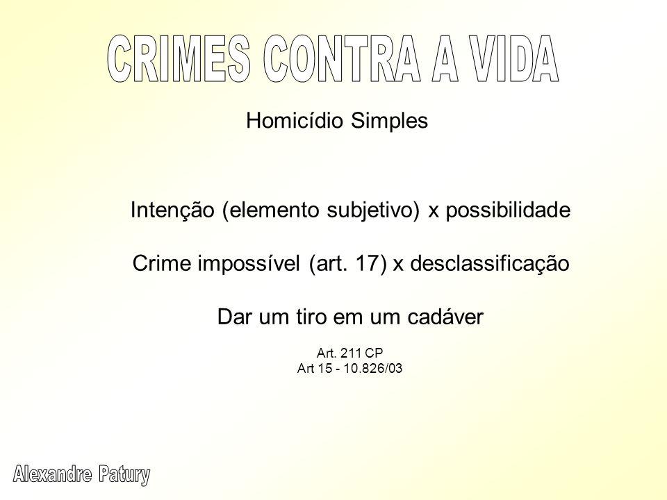 Homicídio Simples Intenção (elemento subjetivo) x possibilidade Crime impossível (art. 17) x desclassificação Dar um tiro em um cadáver Art. 211 CP Ar