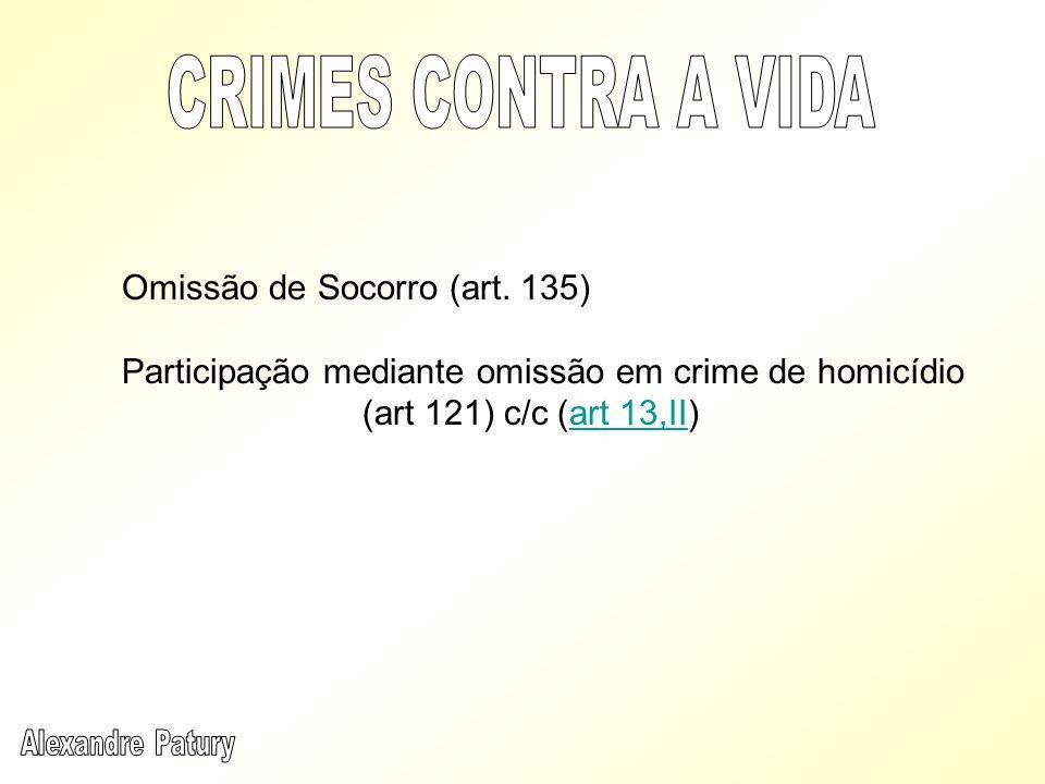 Omissão de Socorro (art. 135) Participação mediante omissão em crime de homicídio (art 121) c/c (art 13,II)art 13,II