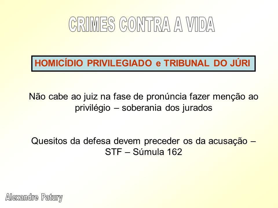 Não cabe ao juiz na fase de pronúncia fazer menção ao privilégio – soberania dos jurados Quesitos da defesa devem preceder os da acusação – STF – Súmu