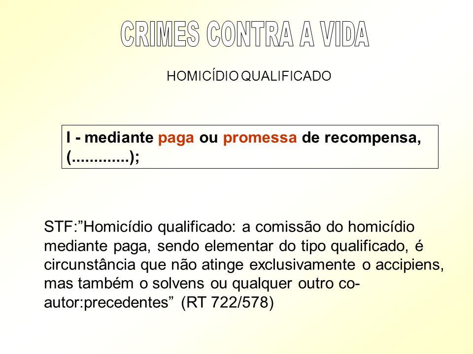 I - mediante paga ou promessa de recompensa, (.............); HOMICÍDIO QUALIFICADO STF:Homicídio qualificado: a comissão do homicídio mediante paga,