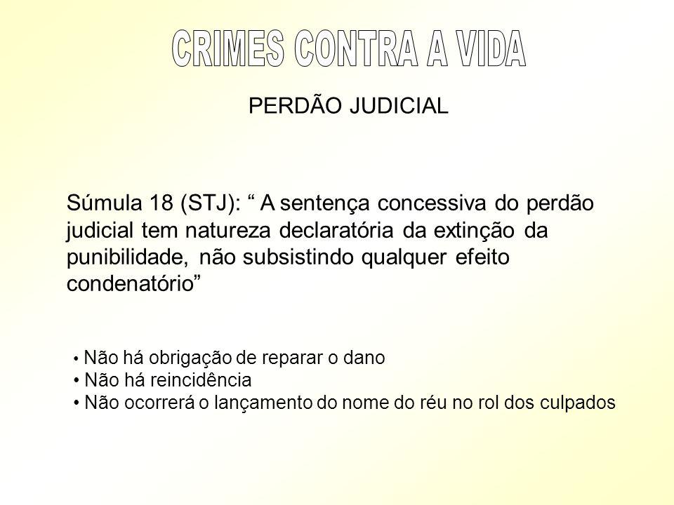 PERDÃO JUDICIAL Súmula 18 (STJ): A sentença concessiva do perdão judicial tem natureza declaratória da extinção da punibilidade, não subsistindo qualq