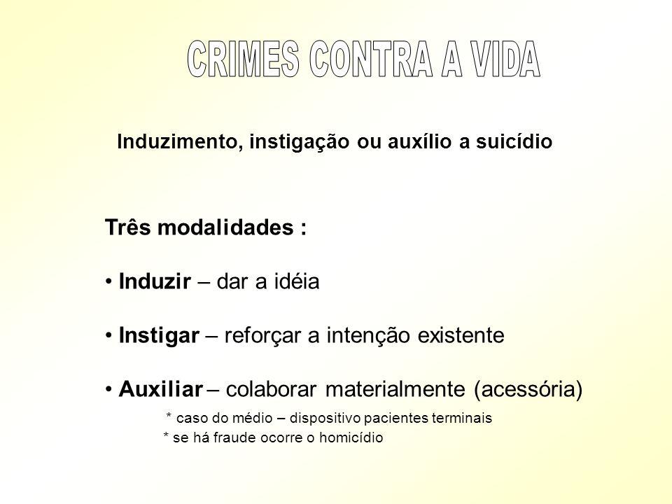 Induzimento, instigação ou auxílio a suicídio Três modalidades : Induzir – dar a idéia Instigar – reforçar a intenção existente Auxiliar – colaborar m