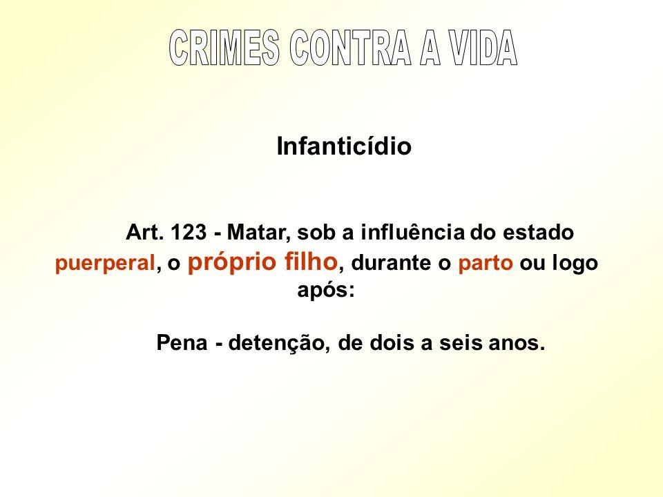 Infanticídio Art. 123 - Matar, sob a influência do estado puerperal, o próprio filho, durante o parto ou logo após: Pena - detenção, de dois a seis an