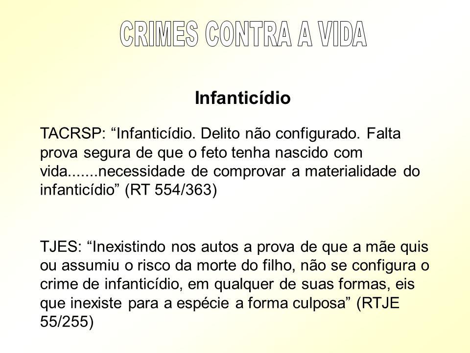 Infanticídio TACRSP: Infanticídio. Delito não configurado. Falta prova segura de que o feto tenha nascido com vida.......necessidade de comprovar a ma