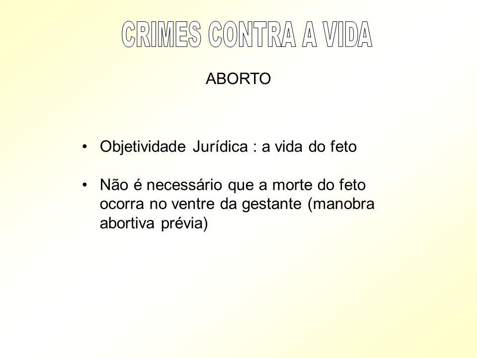 Objetividade Jurídica : a vida do feto Não é necessário que a morte do feto ocorra no ventre da gestante (manobra abortiva prévia) ABORTO