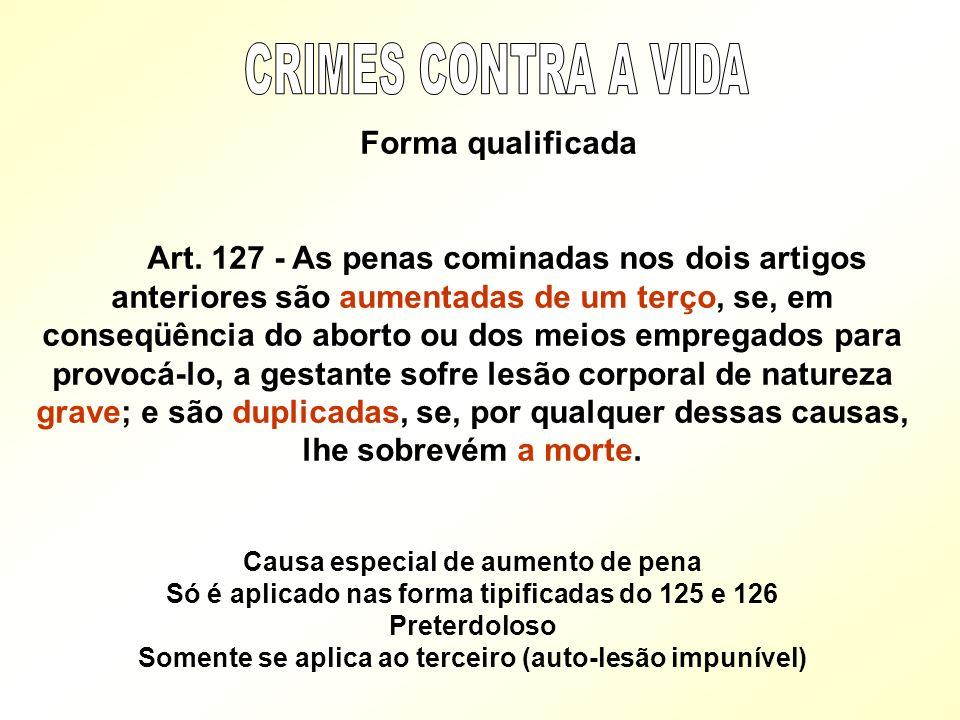 Forma qualificada Art. 127 - As penas cominadas nos dois artigos anteriores são aumentadas de um terço, se, em conseqüência do aborto ou dos meios emp