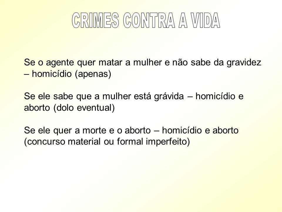Se o agente quer matar a mulher e não sabe da gravidez – homicídio (apenas) Se ele sabe que a mulher está grávida – homicídio e aborto (dolo eventual)