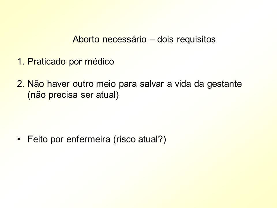 Aborto necessário – dois requisitos 1.Praticado por médico 2.Não haver outro meio para salvar a vida da gestante (não precisa ser atual) Feito por enf