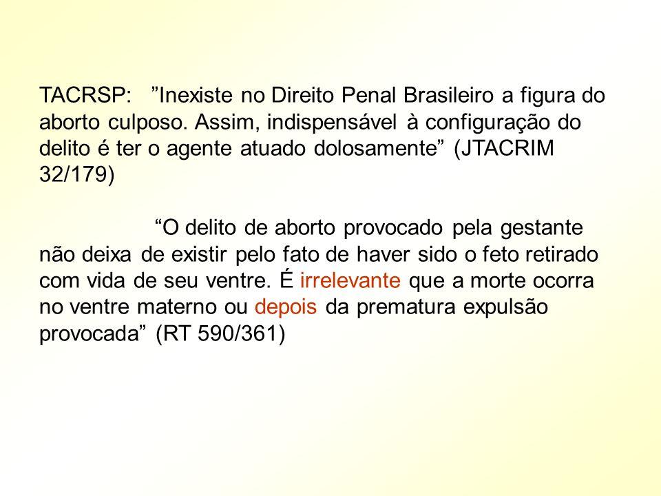 TACRSP: Inexiste no Direito Penal Brasileiro a figura do aborto culposo. Assim, indispensável à configuração do delito é ter o agente atuado dolosamen
