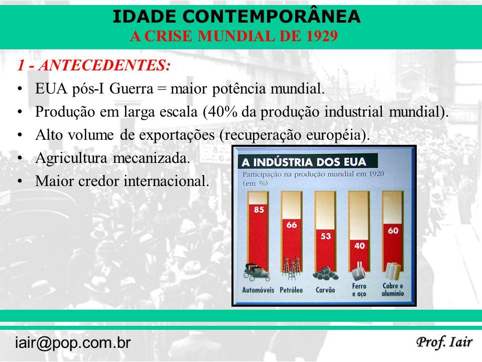 IDADE CONTEMPORÂNEA Prof. Iair iair@pop.com.br A CRISE MUNDIAL DE 1929 1 - ANTECEDENTES: EUA pós-I Guerra = maior potência mundial. Produção em larga