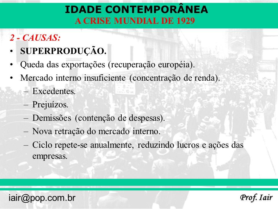 IDADE CONTEMPORÂNEA Prof. Iair iair@pop.com.br A CRISE MUNDIAL DE 1929 2 - CAUSAS: SUPERPRODUÇÃO. Queda das exportações (recuperação européia). Mercad