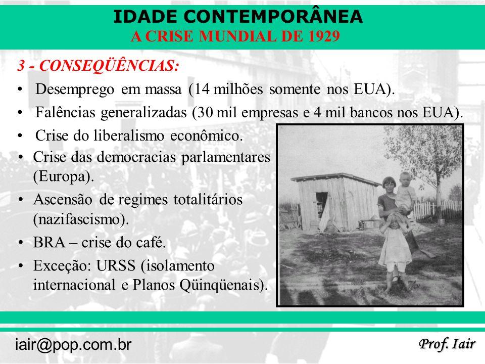 IDADE CONTEMPORÂNEA Prof. Iair iair@pop.com.br A CRISE MUNDIAL DE 1929 3 - CONSEQÜÊNCIAS: Desemprego em massa (14 milhões somente nos EUA). Falências