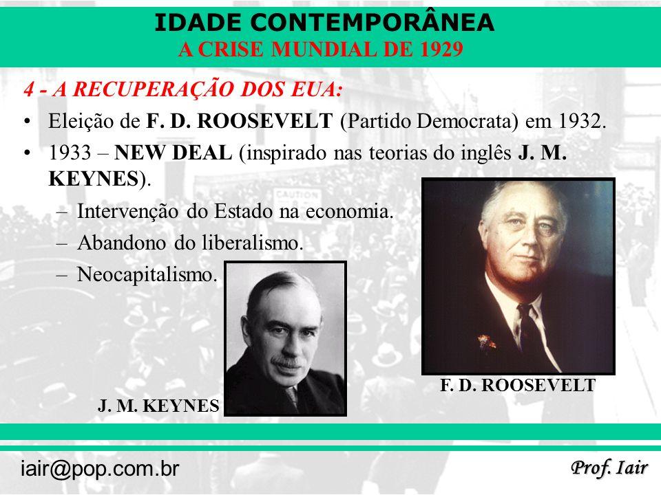 IDADE CONTEMPORÂNEA Prof. Iair iair@pop.com.br A CRISE MUNDIAL DE 1929 4 - A RECUPERAÇÃO DOS EUA: Eleição de F. D. ROOSEVELT (Partido Democrata) em 19