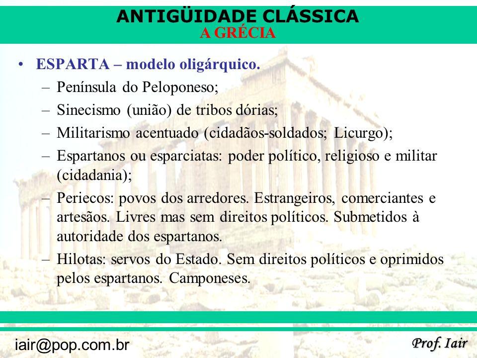 ANTIGÜIDADE CLÁSSICA Prof.Iair iair@pop.com.br A GRÉCIA ESPARTA – modelo oligárquico.